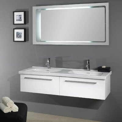 Fly 57 Double Bathroom Vanity Set with Mirror Base Finish: Glossy White