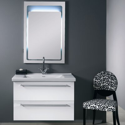 Fly 37 Single Wall Mounted Bathroom Vanity Set with Mirror Base Finish: Glossy White