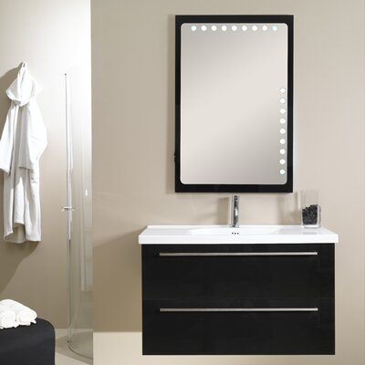 Fly 41 Single Wall Mounted Bathroom Vanity Set with Mirror Base Finish: Glossy Black
