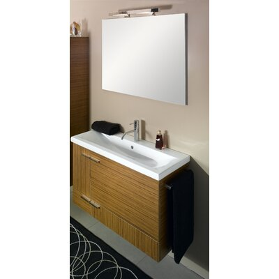 Simple 39 Single Wall Mounted Bathroom Vanity Set with Mirror Base Finish: Natural Oak
