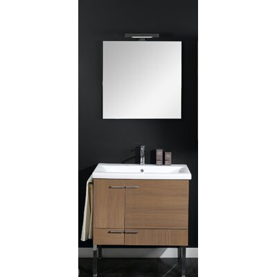 Simple 30 Single Wall Mounted Bathroom Vanity Set with Mirror Base Finish: Natural Oak