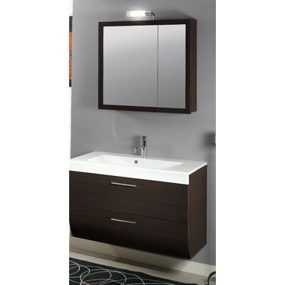 New Day 38 Single Wall Mounted Bathroom Vanity Set with Mirror Base Finish: Gray Oak