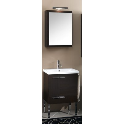 Simple 23 Single Wall Mounted Bathroom Vanity Set with Mirror Base Finish: Teak
