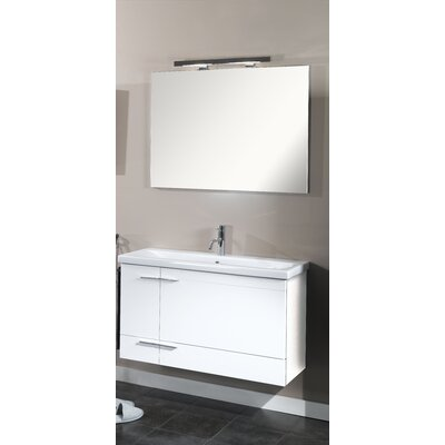 Simple 39 Single Wall Mounted Bathroom Vanity Set with Mirror Base Finish: Teak