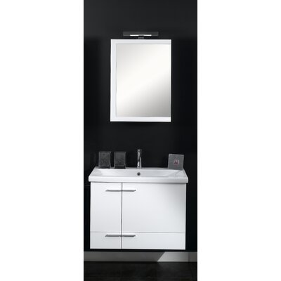 Simple 32 Single Wall Mounted Bathroom Vanity Set with Mirror Base Finish: Teak