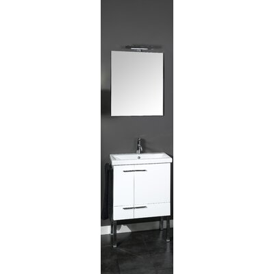 Simple 23 Single Wall Mounted Bathroom Vanity Set with Mirror Base Finish: Natural Oak