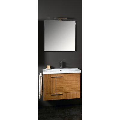 Simple 32 Single Wall Mounted Bathroom Vanity Set with Mirror Base Finish: Wenge