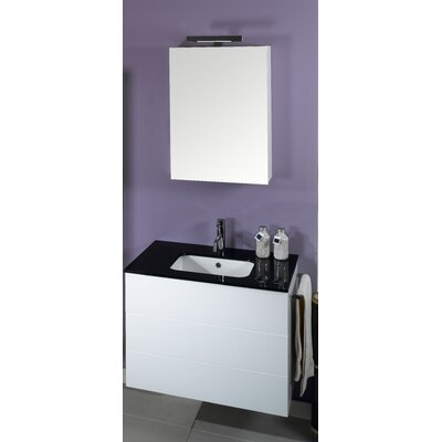 Time 32 Single Wall Mounted Bathroom Vanity Set with Mirror Base Finish: Natural Oak