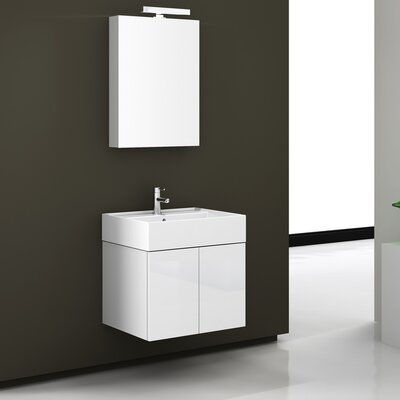 Smile 23.2 Single Bathroom Vanity Set with Mirror Base Finish: Gray Oak, Mount: Wall Mount