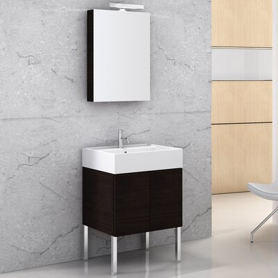 Smile 23.2 Single Bathroom Vanity Set with Mirror Base Finish: Wenge, Mount: Wall Mount