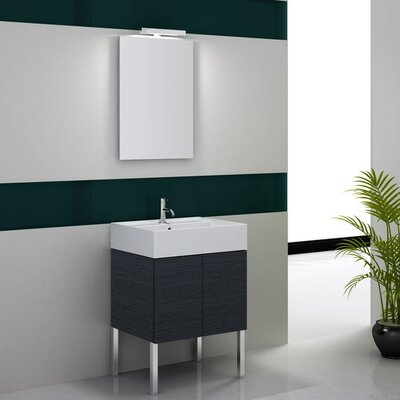 Smile 32 Single Footed Bathroom Vanity Set with Mirror Base Finish: Glossy White