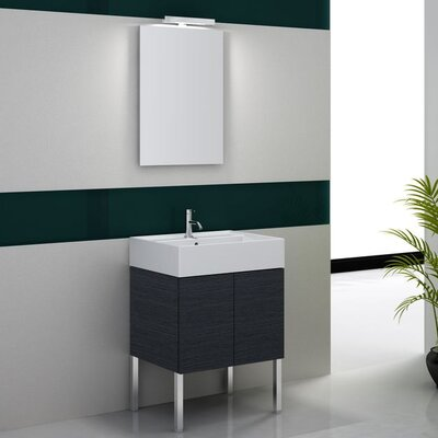 Smile 32 Single Wall Mount Bathroom Vanity Set with Mirror Base Finish: Gray Oak