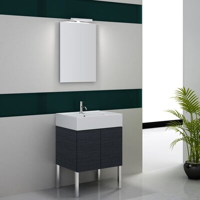 Smile 24 Single Wall Mount Bathroom Vanity Set with Mirror Base Finish: Gray Oak