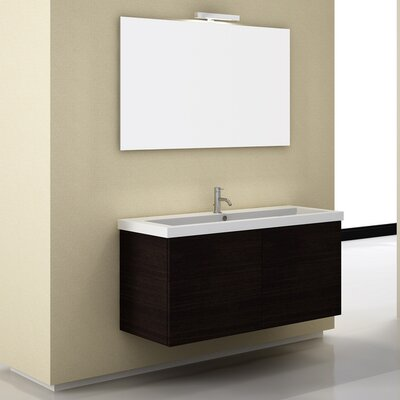 Space 47 Single Wall Mount Bathroom Vanity Set with Mirror Base Finish: Gray Oak