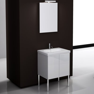 Trendy 24 Single Footed Bathroom Vanity Set with Mirror Base Finish: Glossy White