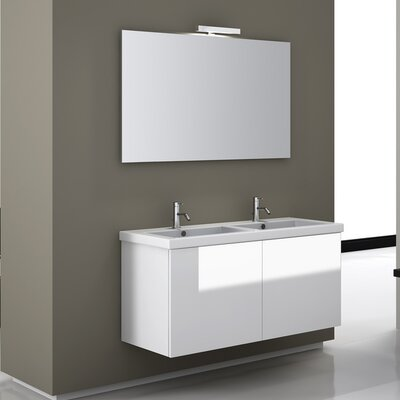 Space 47 Double Wall Mount Bathroom Vanity Set with Mirror Base Finish: Gray Oak