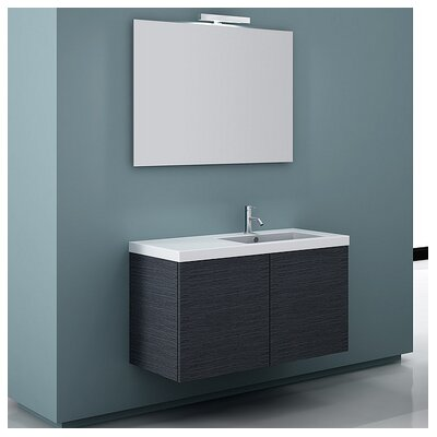 Space 39 Single Wall Mount Bathroom Vanity Set with Mirror Base Finish: Gray Oak