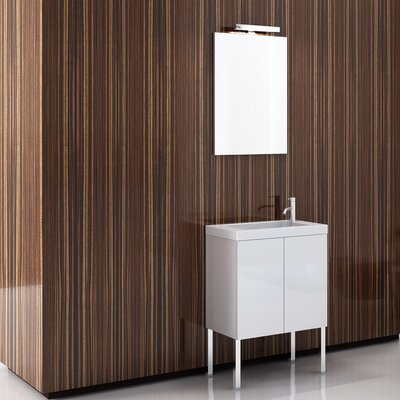 Happy Day 24 Single Footed Bathroom Vanity Set with Mirror Base Finish: Wenge