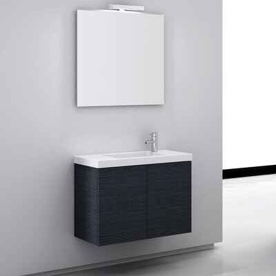 Happy Day 32 Single Wall Mount Bathroom Vanity Set with Mirror Base Finish: Gray Oak