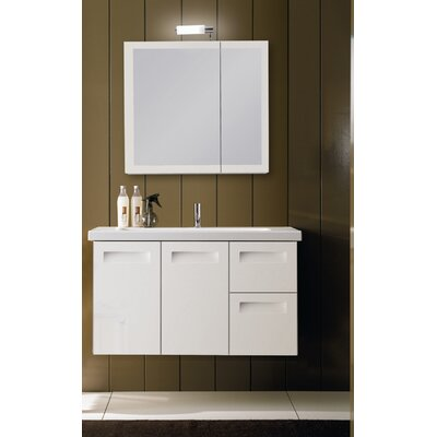 Integral 39 Single Wall Mounted Bathroom Vanity Set with Mirror Base Finish: Natural Oak