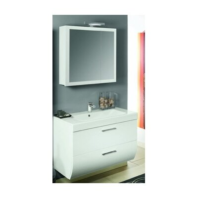 New Day 38 Single Wall Mounted Bathroom Vanity Set with Mirror Base Finish: Glossy White