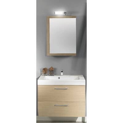 New Day 30 Single Wall Mounted Bathroom Vanity Set with Mirror Base Finish: Natural Oak