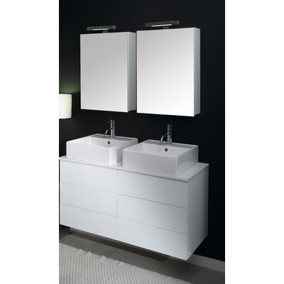 Time 47 Double Wall Mounted Bathroom Vanity Set with Mirror Base Finish: Glossy White