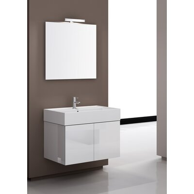Smile 32 Single Wall Mount Bathroom Vanity Set with Mirror Base Finish: Glossy White