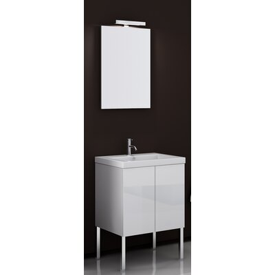 Space 24 Single Bathroom Vanity Set with Mirror Base Finish: Glossy White