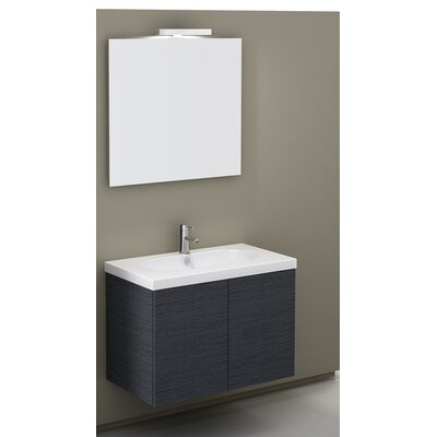 Trendy 32 Single Wall Mount Bathroom Vanity Set with Mirror Base Finish: Gray Oak