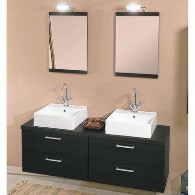 Aurora 60 Double Bathroom Vanity Set with Mirror Base Finish: Gray Oak