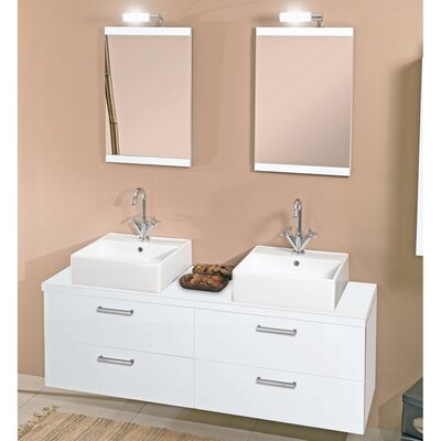 Aurora 60 Double Bathroom Vanity Set with Mirror Base Finish: Glossy White