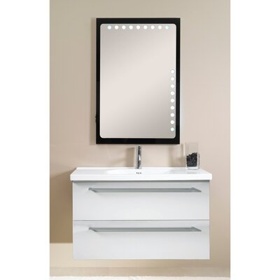 Fly 41 Single Wall Mounted Bathroom Vanity Set with Mirror Base Finish: Glossy White