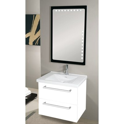 Fly 29 Single Wall Mounted Bathroom Vanity Set with Mirror Base Finish: Glossy White