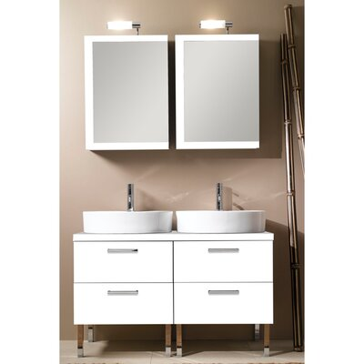 Aurora 45 Double Bathroom Vanity Set with Mirror Base Finish: Glossy White