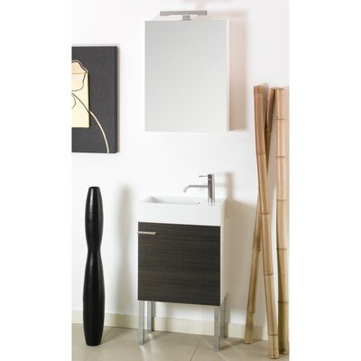Lola 21 Single Wall Mounted Bathroom Vanity Set with Mirror Base Finish: Gray Oak