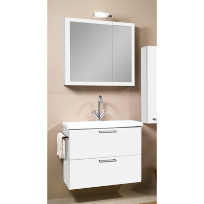 Luna 30 Single Bathroom Vanity Set with Mirror Base Finish: Glossy White