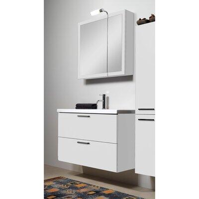 Luna 39 Single Bathroom Vanity Set with Mirror Base Finish: Glossy White