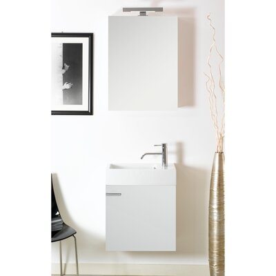Lola 21 Single Wall Mounted Bathroom Vanity Set with Mirror Base Finish: Glossy White