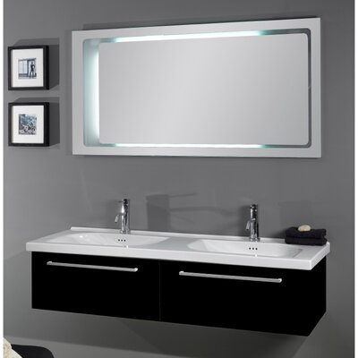 Fly 57 Double Bathroom Vanity Set with Mirror Base Finish: Glossy Black