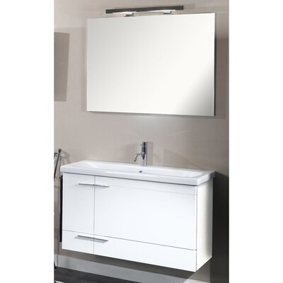 Simple 39 Single Wall Mounted Bathroom Vanity Set with Mirror Base Finish: Glossy White