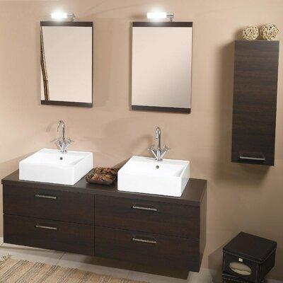Aurora 60 Double Bathroom Vanity Set with Mirror Base Finish: Wenge