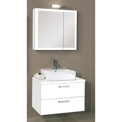Aurora 30 Single Bathroom Vanity Set with Mirror Base Finish: Glossy White
