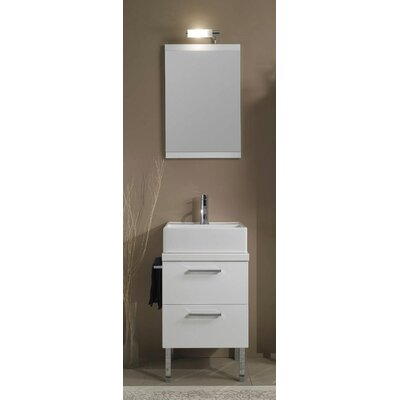 Aurora 19 Single Bathroom Vanity Set with Mirror Base Finish: Gray Oak
