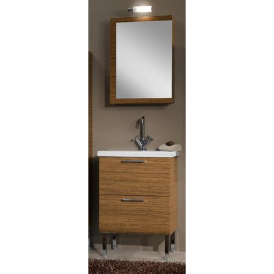 Luna 24 Single Bathroom Vanity Set with Mirror Base Finish: Glossy White