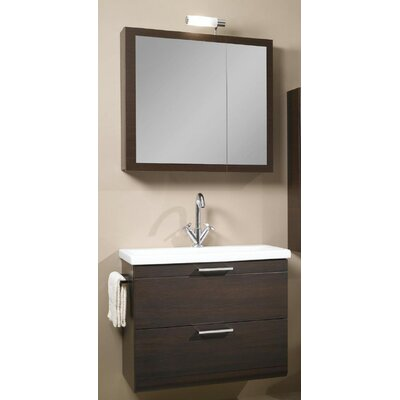 Luna 30 Single Bathroom Vanity Set with Mirror Base Finish: Wenge