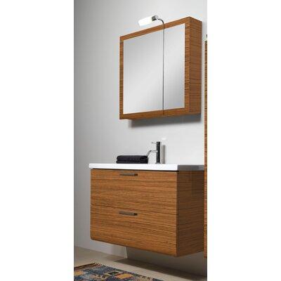 Luna 39 Single Bathroom Vanity Set with Mirror Base Finish: Teak