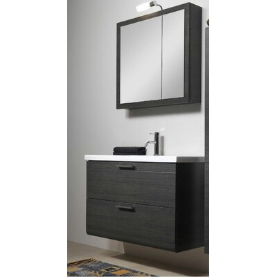Luna 39 Single Bathroom Vanity Set with Mirror Base Finish: Gray Oak