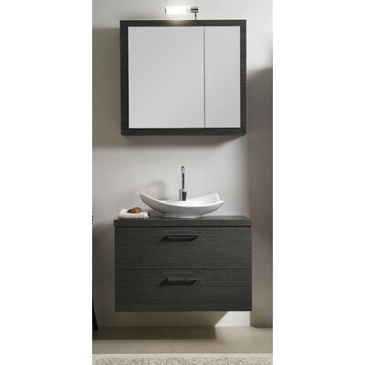 Aurora 31 Single A15 Bathroom Vanity Set with Mirror Base Finish: Gray Oak