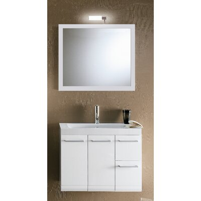 Linear 30 Single Wall Mounted Bathroom Vanity Set with Mirror Base Finish: Glossy White